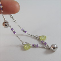 925 RODIUM SILVER BRACELET WITH FACETED BALLS, AMETHYST & CRYSTAL, MADE IN ITALY image 5
