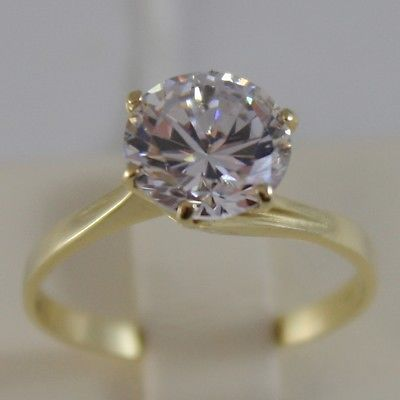 SOLID 18K YELLOW GOLD SOLITAIRE RING, CUBIC ZIRCONIA 2.5 CARATS, MADE IN ITALY