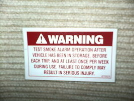 "RV Decal Warning Test Smoke Alarm  #505 1 3/4"" X 3 1/4"" - $2.48"