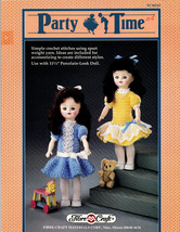 "Crochet Party Time * Fibre Craft 11.5""  Doll Dress Clothes 1990 Patterns Oop - $7.99"