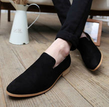Mens fashion back suede mocassins shoes, men loafer casual suede leather... - $159.99