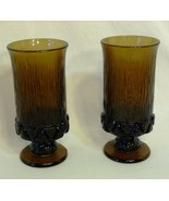 Vintage Fostoria  Sorrento Brown Amber Iced Tea Goblets Heavy Ribbed Glass  - $19.98