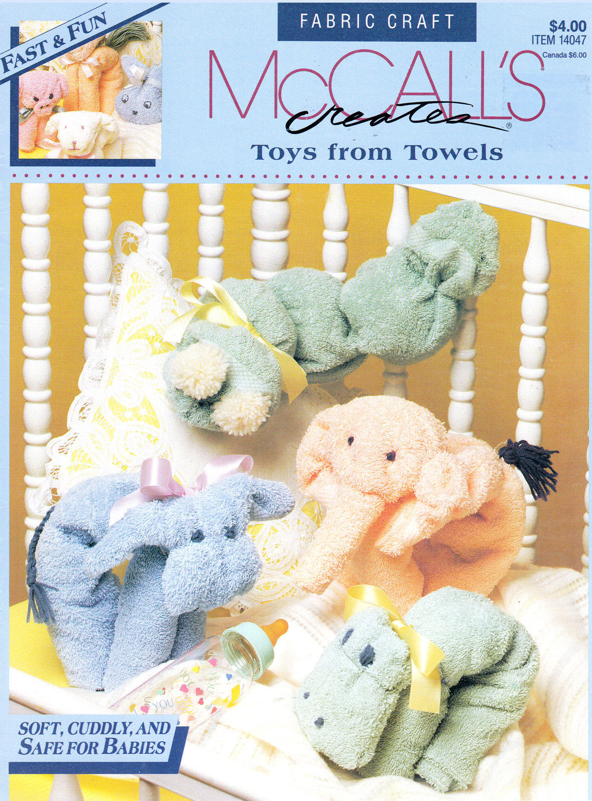 Primary image for MCCALL'S TOYS FROM TOWELS CRAFT 4 BABY PIG LAMB COW HIPPO ELEPHANT HORSE BUNNY