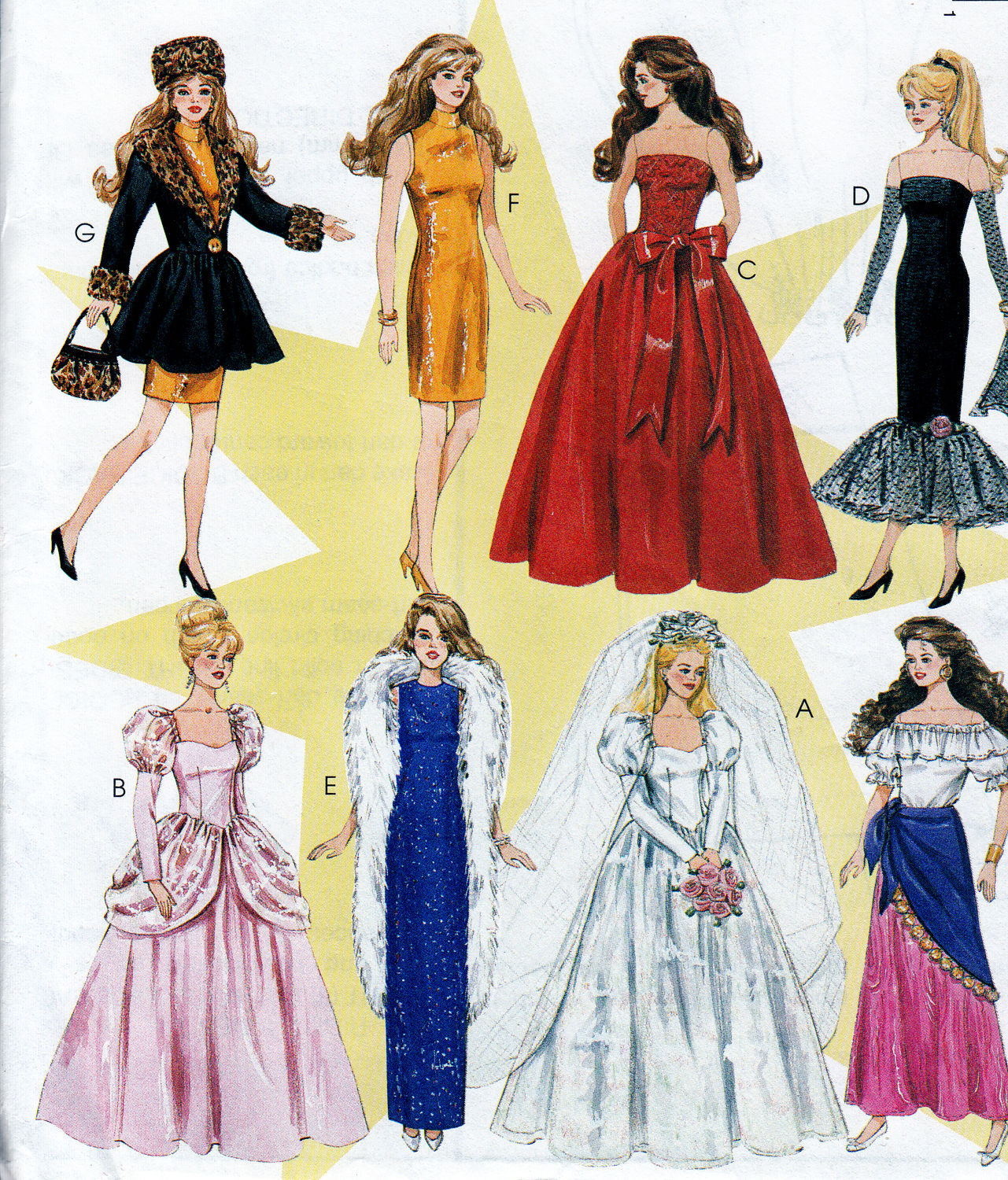Primary image for BARBIE DOLL SOLO IN SPOTLIGHT SHEATH-WEDDING-GYPSY PATTERN McCALL 8552 UNCUT