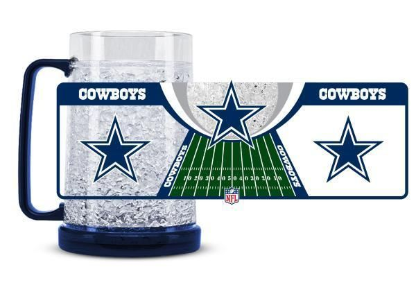 DALLAS COWBOYS 16 OZ CRYSTAL FREEZER MUG NFL FOOTBALL KEEPS YOUR DRINK ICY COLD!
