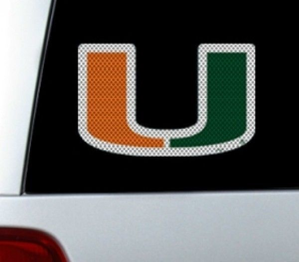 "*BIG* 12"" MIAMI HURRICANES CAR HOME PERFORATED WINDOW FILM DECAL NCAA"