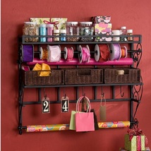 Ribbon Rack Wrapping Paper Gift Wrap Storage Craft Home Wall Mounted Org... - $123.49