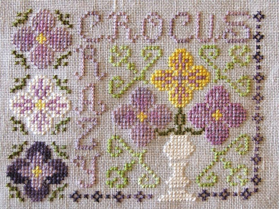 Crocus Crazy cross stitch chart Misty Hill Studio - $7.20