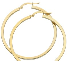 18K YELLOW GOLD CIRCLE EARRINGS DIAMETER 35 MM WITH SQUARE TUBE, MADE IN ITALY image 1