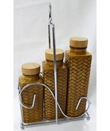 waikiki century embossed bamboo wicker 3pc spice bottles and stand brown... - $23.75
