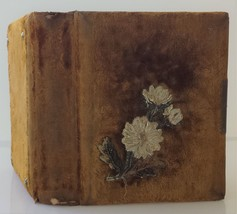 "1800s antique VICTORIAN empty LEATHER PHOTO ALBUM 7""x8.5"" velvet beaded ... - $37.95"