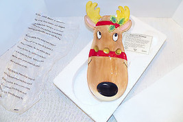 """Fitz & Floyd Snack Therapy Hand Painted Christmas Reindeer Serving Tray 5 x 13"""" - $17.99"""