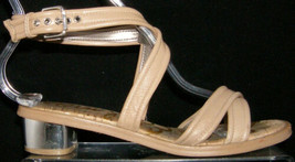 Sam Edelman Tess brown leather ankle buckle strap sandal block heels 6M - $21.55
