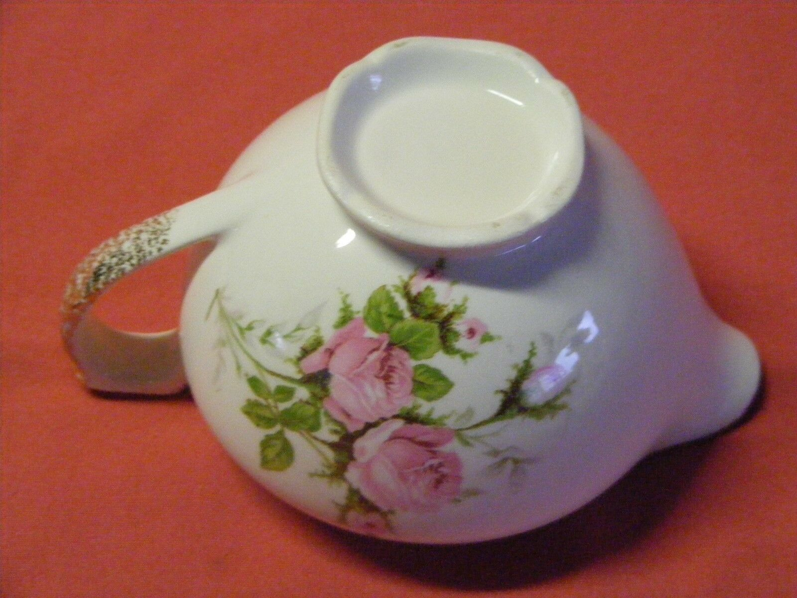 Canonsburg Moss Rose Cream Pitcher  22 K  Brushed Gold Trim