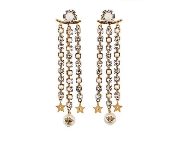 AUTH Christian Dior 2019 MULTI STRAND LONG STAR EARRINGS DANGLE DROP CRYSTAL GOL