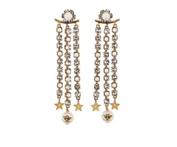 AUTH Christian Dior 2019 MULTI STRAND LONG STAR EARRINGS DANGLE DROP CRY... - $439.99