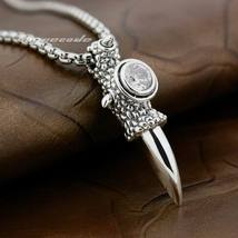 LINSION 925 Sterling Silver Huge Dragon Claw White CZ Pendant Necklace for Mens image 2