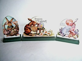 Vintage Style Wooden Die Cuts Easter Bunny Chicks Toddler Three Piece Se... - $19.75