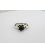 Vintage Sterling Silver Black Oynx Dome Ring Size 8 - $37.00
