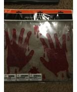 Halloween Bloody Hand Prints Gel Window Clings Decorations —389 - $18.29
