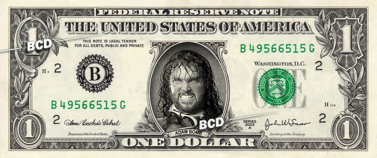 ADAM BOMB Wrestler on REAL Dollar Bill -  Collectible Celebrity Cash Money WWE