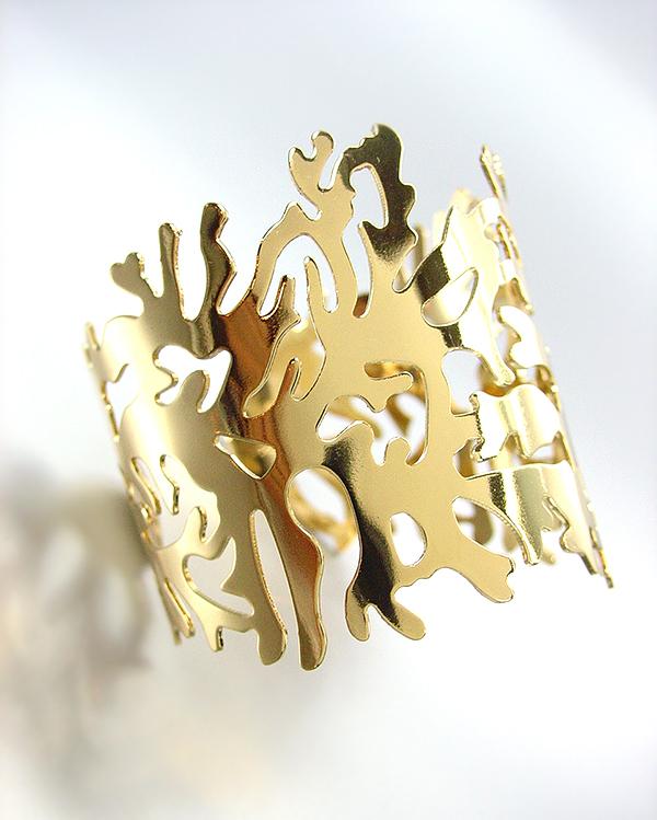 CHIC & UNIQUE GOLD METAL CORAL MOTIF CUFF BRACELET - $18.99