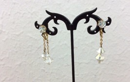 Vintage Clear Aurora Borealis Crystal Bead Dangle/Drop Clip On Earrings ... - $6.92