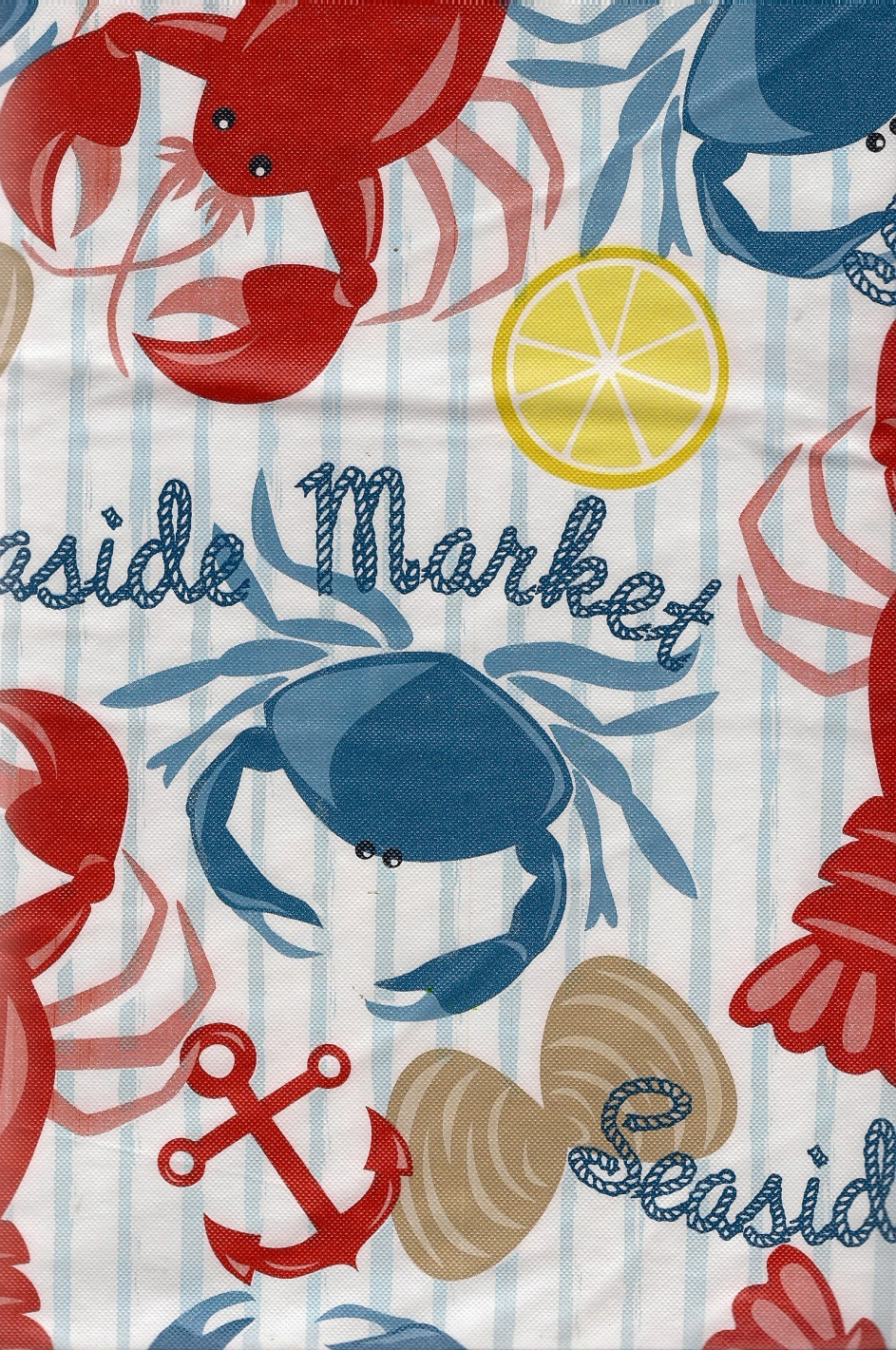 Clambake Lobster Blue Crab Seaside Market Vinyl Tablecloth flannel back 52 x 70