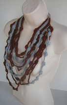 Maxi cascate Crochet Necklace Gray and Dark Red - $19.00
