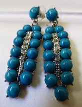 VTG Silver tone metal Crystal Blue Turquoise Faux dangle feather earrings - $34.65