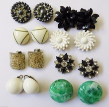 Lot of 8 VTG Retro Clip Earrings White Flower Green Black Fancy - $45.54