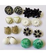 Lot of 8 VTG Retro Clip Earrings White Flower Green Black Fancy - $45.54
