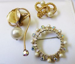 Lot of 3 vtg Tara goldtone peal faux crystal heart wreath dangle knot pin brooch - $68.31