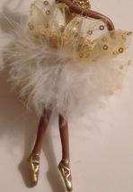 Christmas Ornament African American Black Ballerina in Gold White Tutu New - $10.84