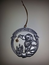 Avon 1997 Santa Clause Holding Goldtone Star Christmas Pewter Ornament - $9.85