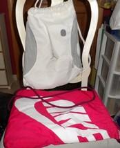 Lot of 2 Cinch bag backpacks one red by Nike, White by Michael Jordan - $19.39 CAD