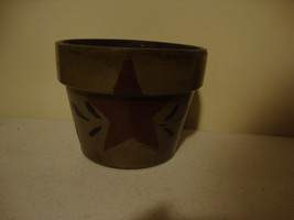 Country painted pottery planter w/ star design - $19.53
