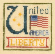 U is for United SC33 mini cross stitch chart Elizabeth's Designs  - $3.60