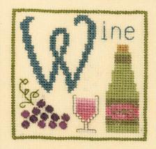 W is for Wine SC35 mini cross stitch chart Elizabeth's Designs  - $3.60