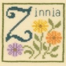 Z is for Zinnia SC38 mini cross stitch chart Elizabeth's Designs  - $3.60