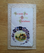 Antique Die Cut Christmas Postcard Series 2559  Pansies Winsch Back Logo Germany - £14.13 GBP
