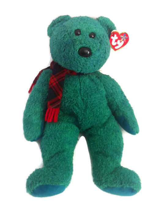 Wallace Beanie Buddy Ty Retired Green  Bear Tartan Plaid Scarf 13