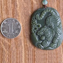 Hand carved natural green jade tiger goos luck asia tiger pendant - $19.79