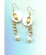 gold hearts white sequins earrings charm long dangles metal pearl drops ... - $5.99