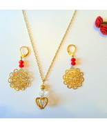 Gold Tone Filigree and Crystal Heart Necklace and Earrings Set  - $14.99