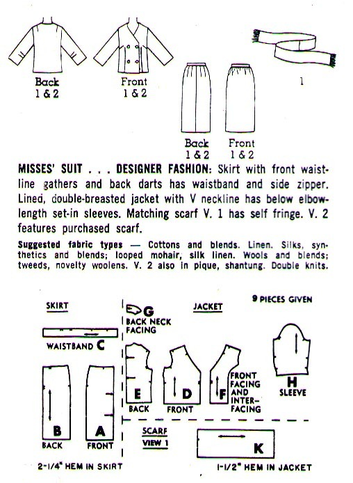 1965 DOUBLE BREASTED SUIT Pattern 6312-s Size 14 - Complete