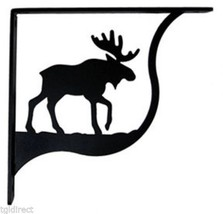 "Wall Shelf Bracket Pair Of 2 Moose Pattern Wrought Iron 7.25"" L Crafting... - $48.99"