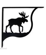"Wall Shelf Bracket Pair Of 2 Moose Pattern Wrought Iron 7.25"" L Crafting... - $48.99"