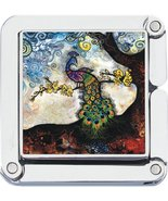 Square Colorful Peacock Photo Purse Hanger Handbag Table Hook - $9.89