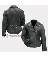 Women Ladies Classic Style Black Solid Genuine Buffalo Leather Motorcycl... - $81.92